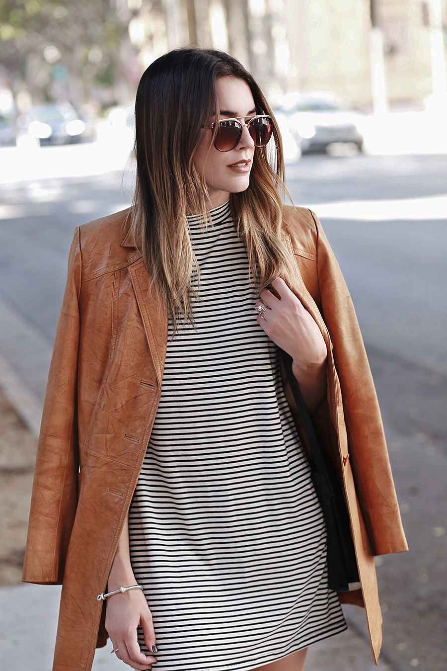 High Neck Dress Stripes Leather Blazer
