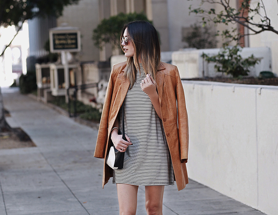 Leather Blazer Striped Dress No Rest For Bridget