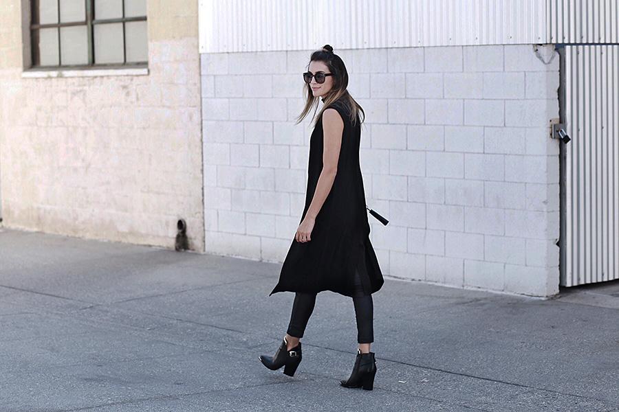 Longline Vest Brittany Xavier brittanyxavier.com Black booties