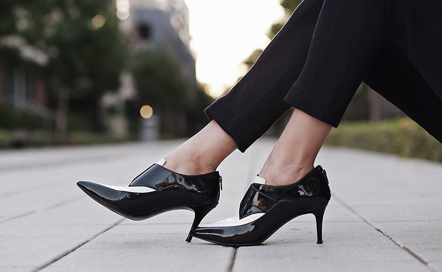 Mid Heel Black and White Booties