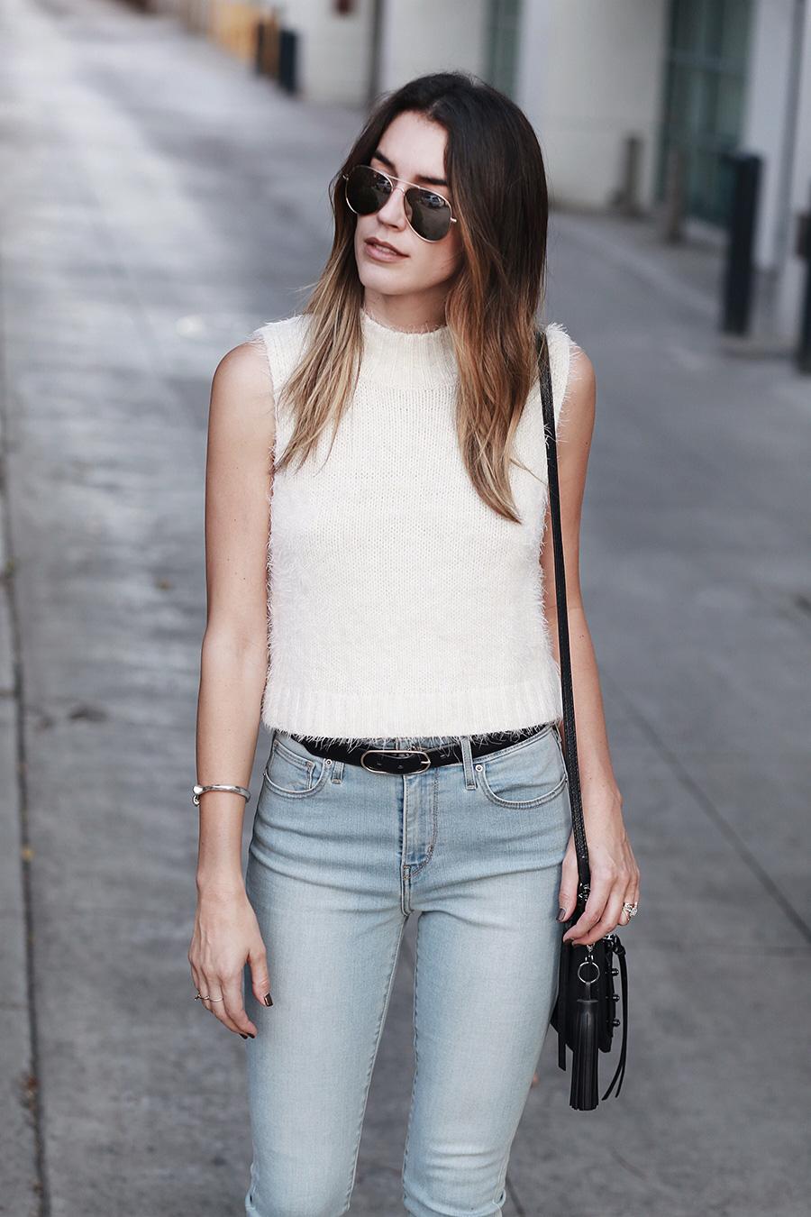 Mock Turtleneck Tank Skinny Belt Skinny Jeans