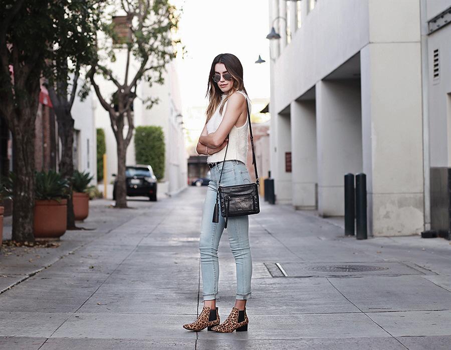 Mock Turtleneck Tank Top High Waisted Skinny Jeans