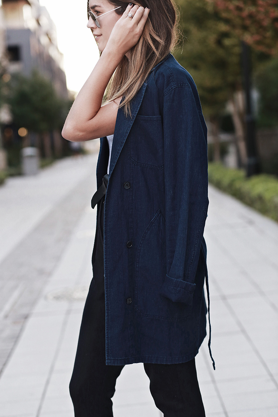 Ombre Hair Denim Trench Coat