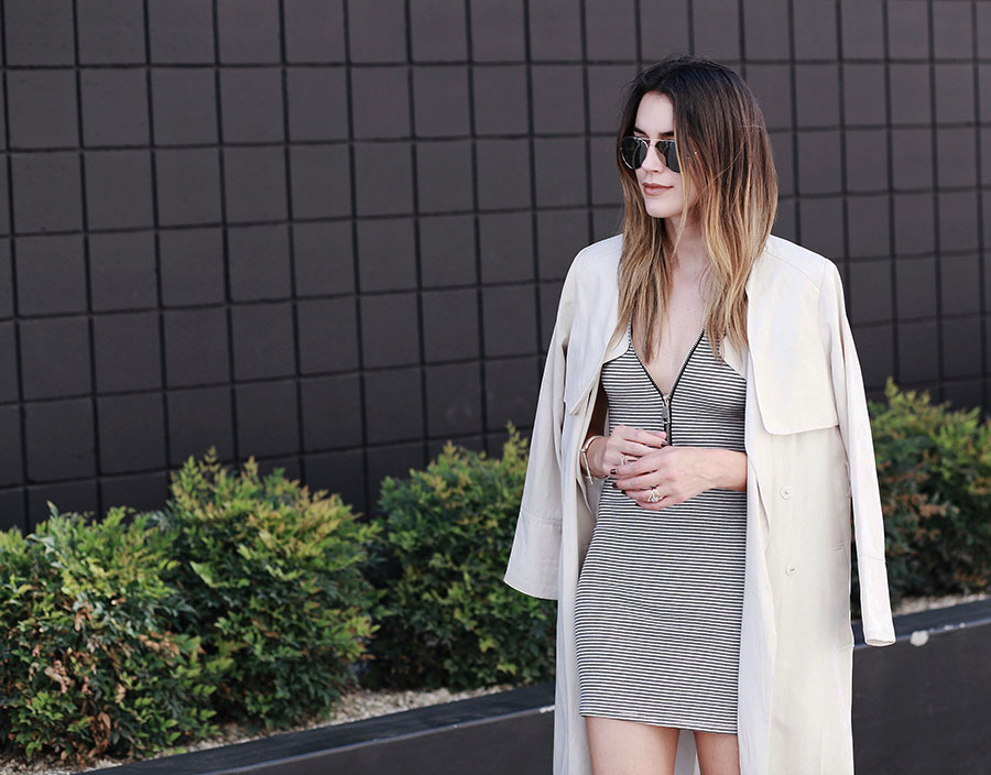 Ombre Hair Striped Dress Trench Coat