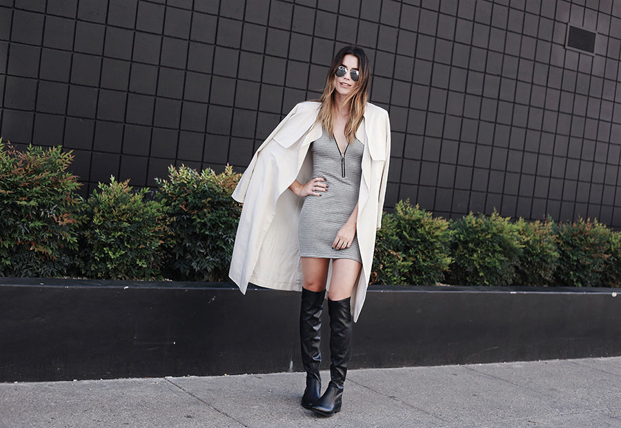Over the knee boots black fall coat trends