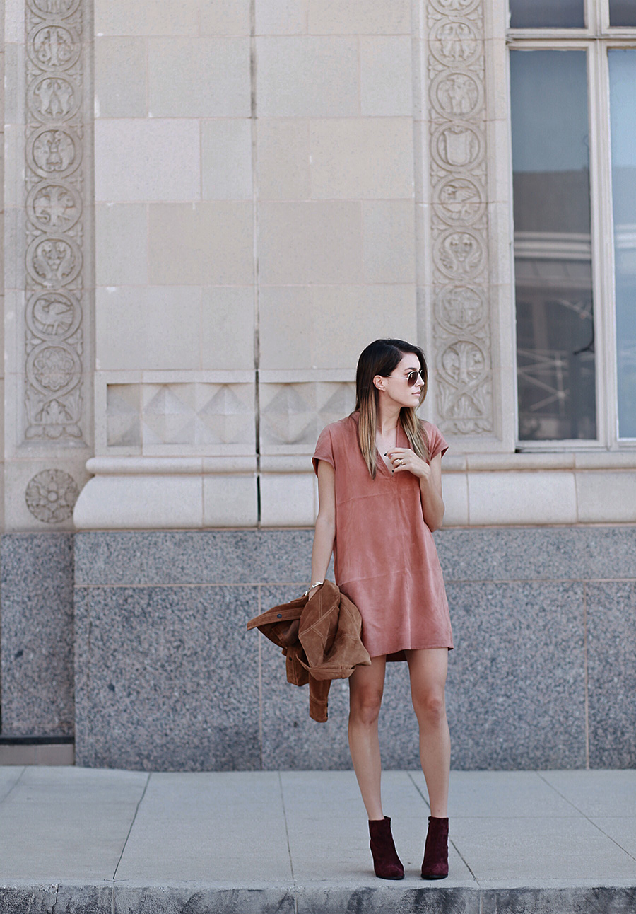 Shift Suede Dress Blush Camel Coat Berry Booties brittanyxavier.com Pasadena