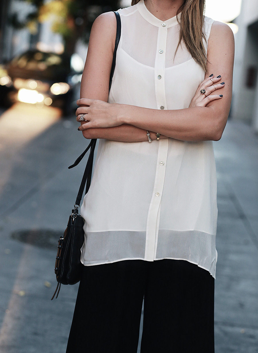 Silk Mandarin Collar Sleeveless Blouse