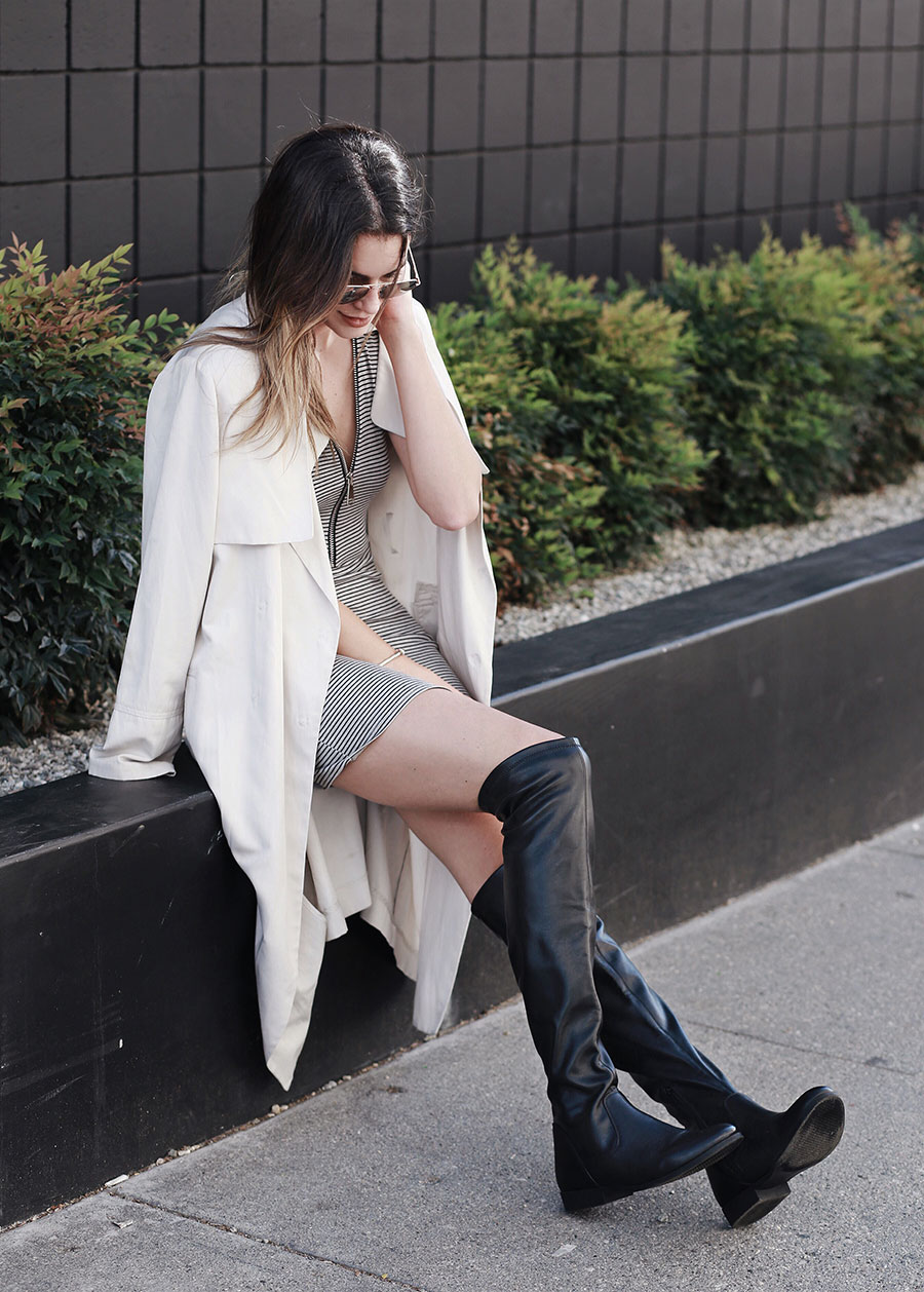 Striped Dress over the knee Steve Madden Boots
