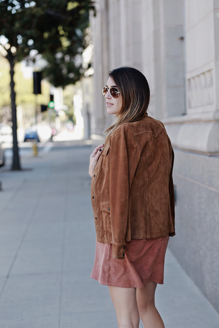 Suede Jacket Aviator Sunglasses Ombre Hair