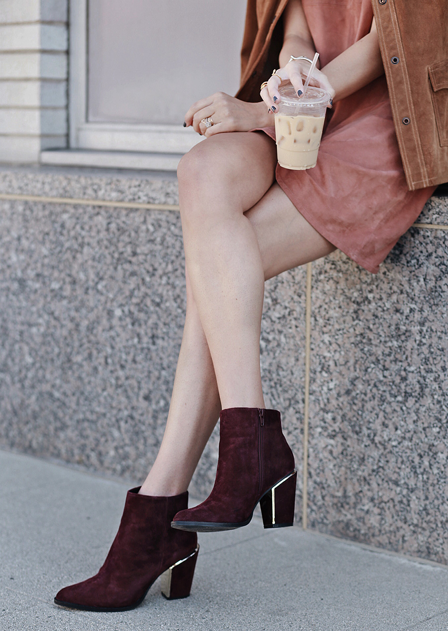 Wine Ankle Booties Metallic Details Fashion Blogger
