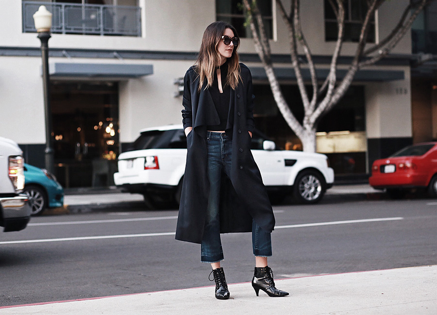 Cropped Jeans Flare Trench Coat