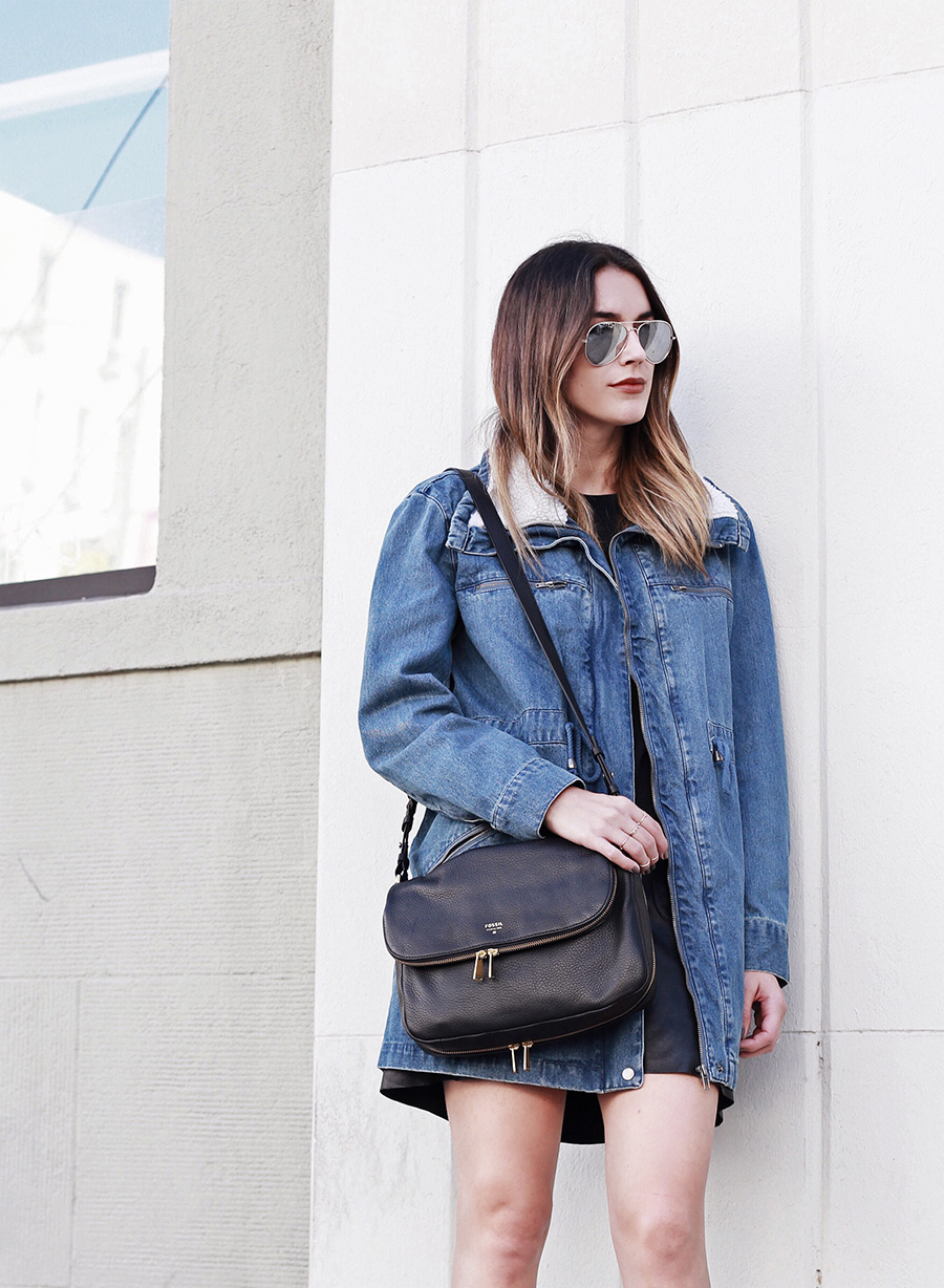 Denim Jacket Black Crossbody Handbag