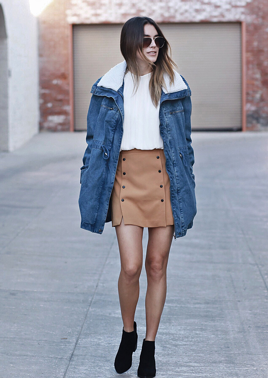 Denim Jacket and Button Up Skirt