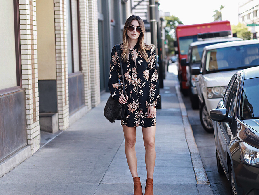 Floral Dress Scarf Neck Camel Booties
