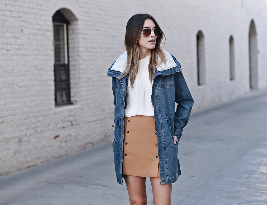 Jean Jacket Camel Button Up Skirt