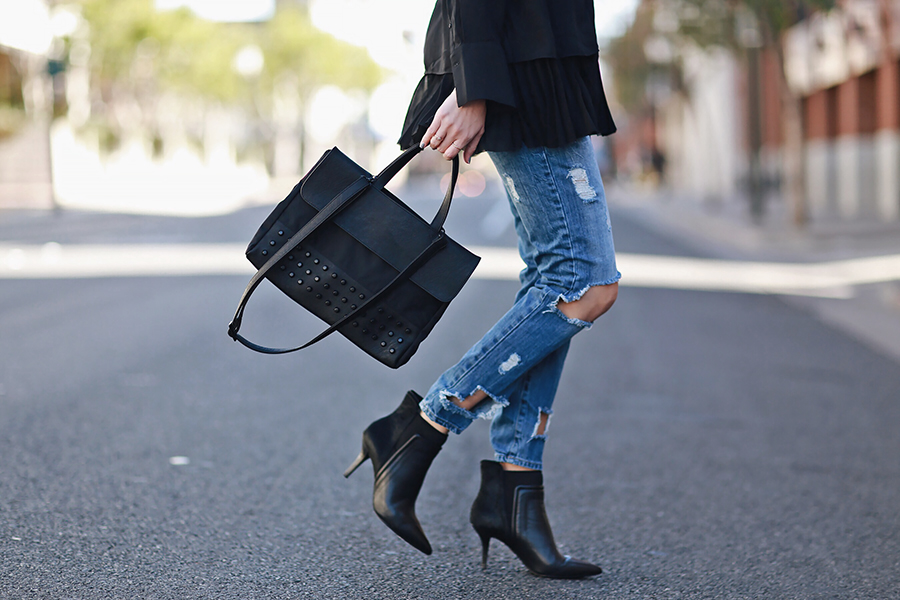 Ripped Jeans Black Bag