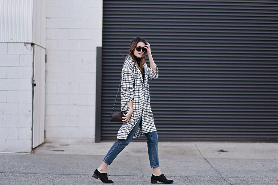 Grid Print Coat Mom Jeans