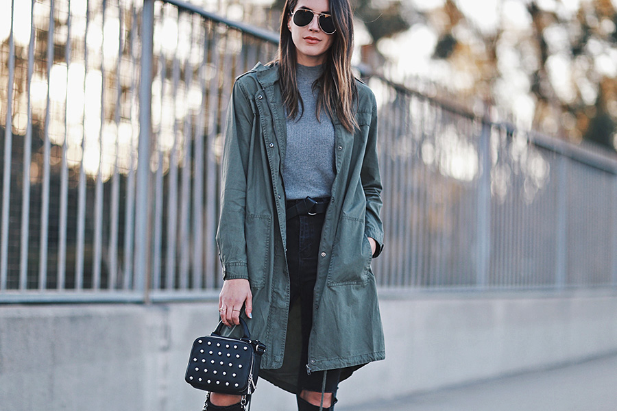Olive Jacket Studded Handbag