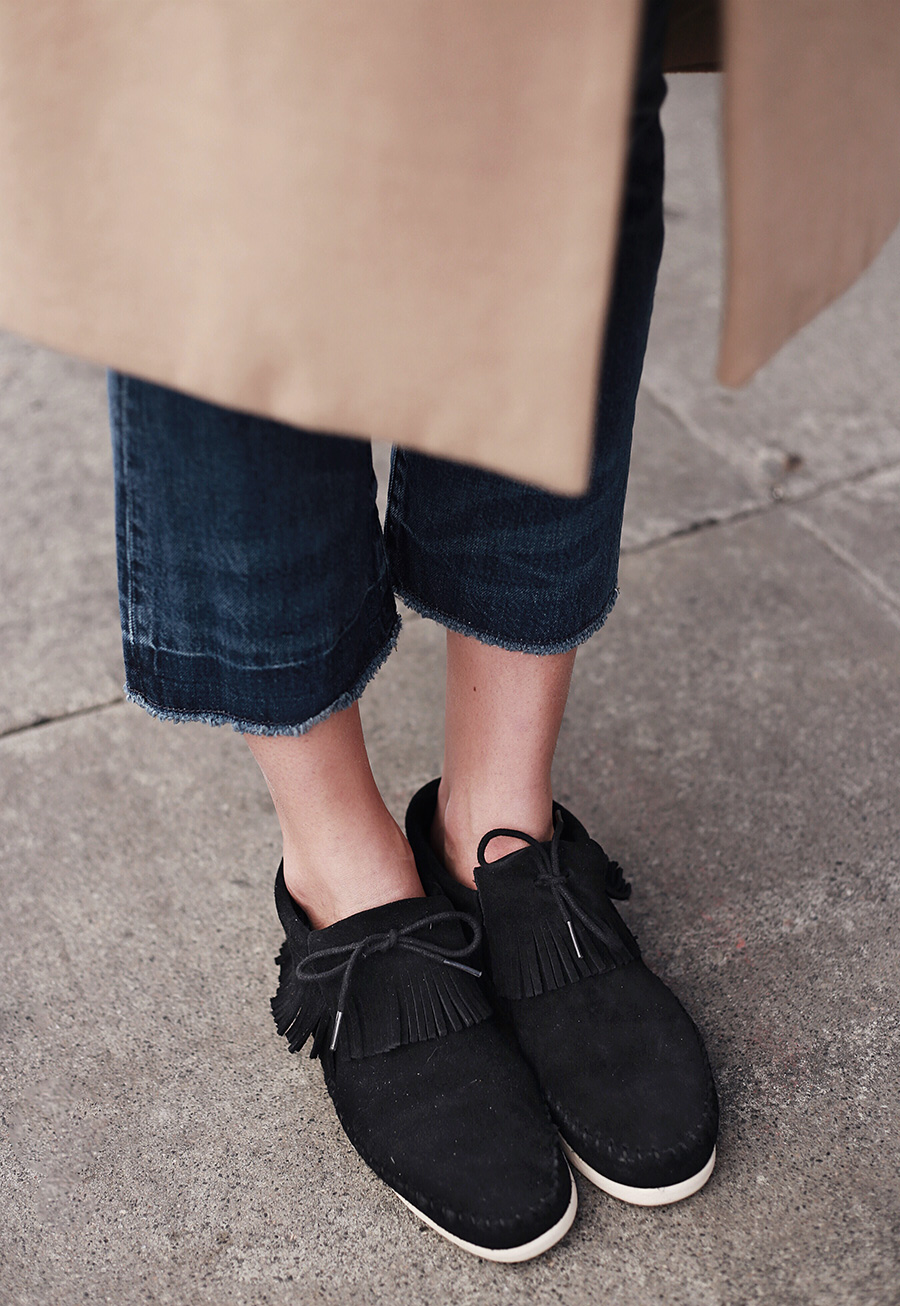 Suede Black Fringe Shoes