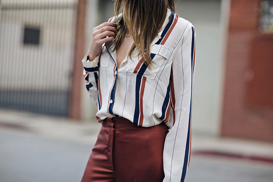 70s Striped Boyfriend Blouse