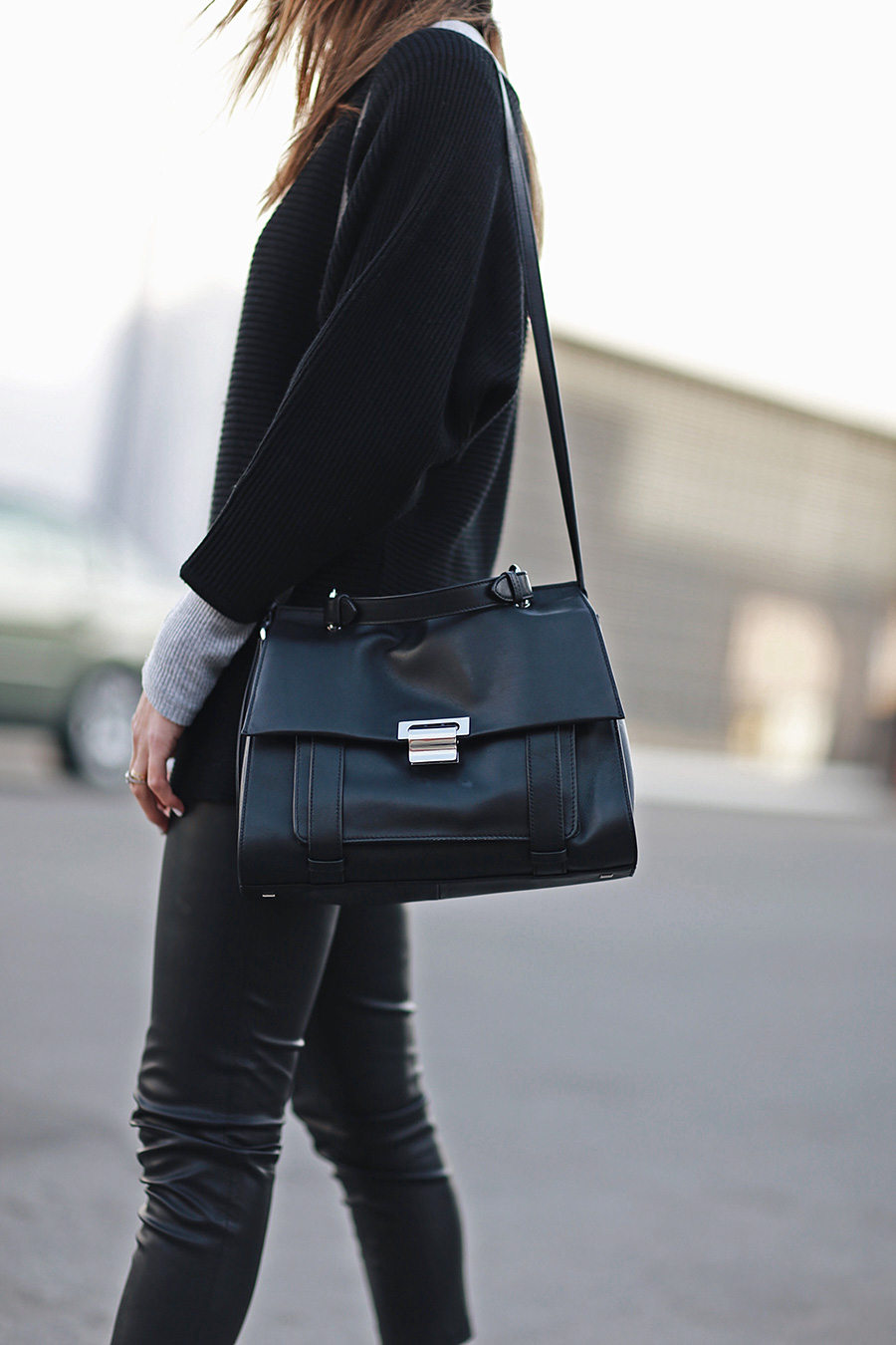 Black Leather Satchel Fashion Blogger