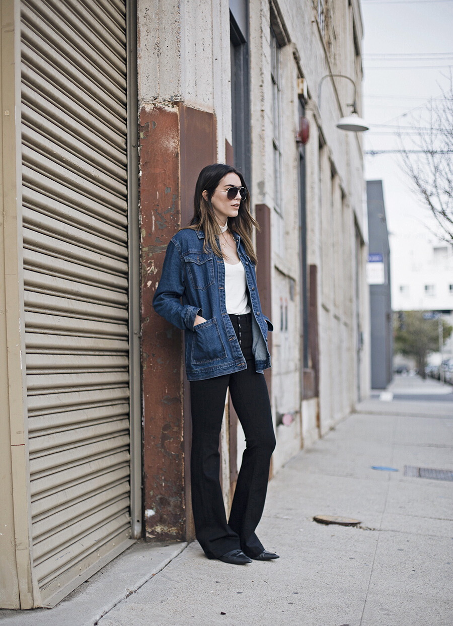 Cutout Neck Tank top Denim Jacket Blogger Style