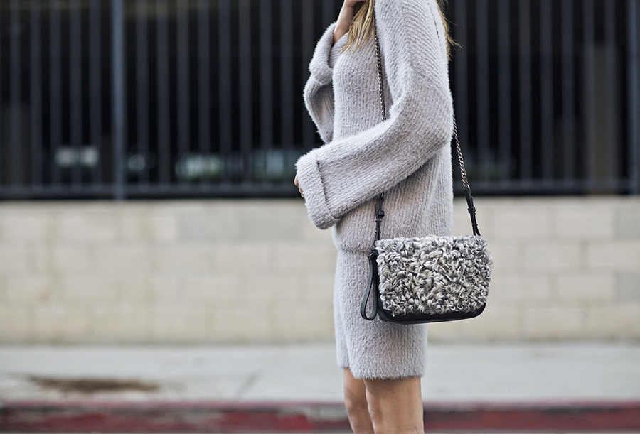 Knit Sweater Set and Shearling Bag