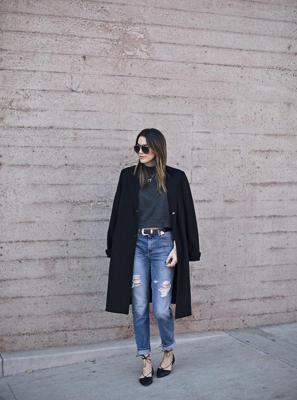 Slim Boyfriend Jeans Black Leather Lace up Flats