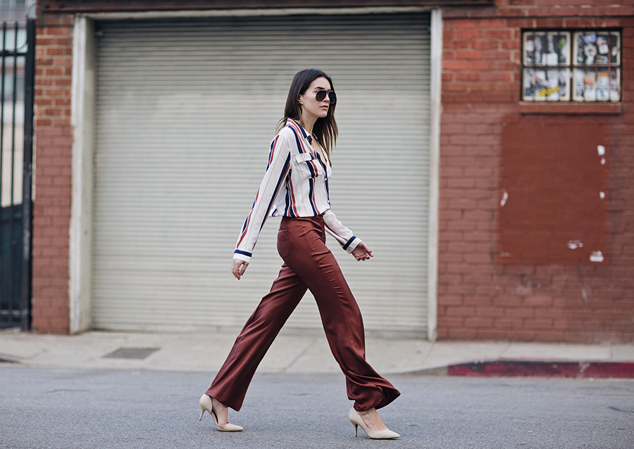 Street Style Wide Leg Trousers Blogger