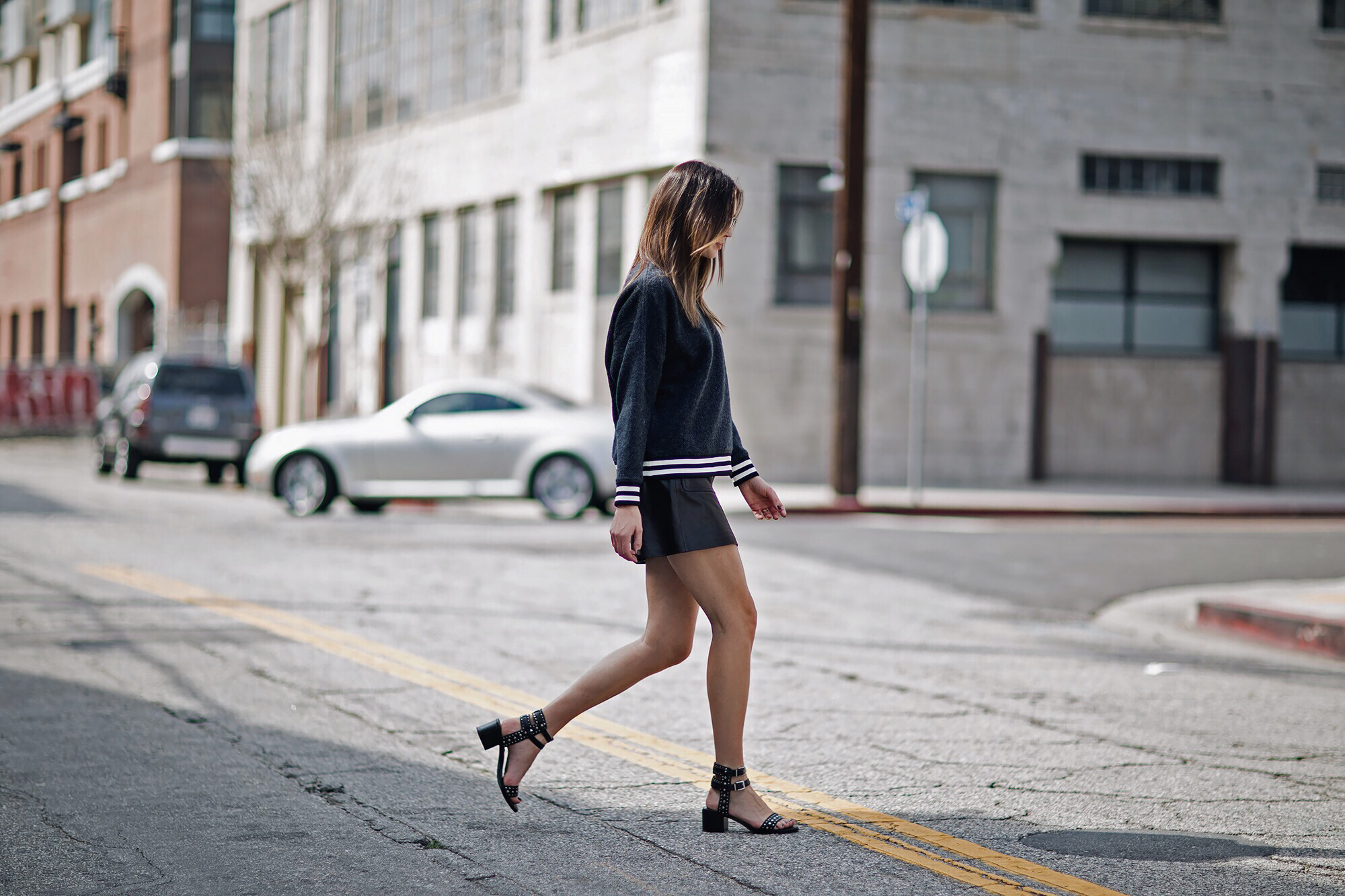 Blogger Street Style Leather Skirt