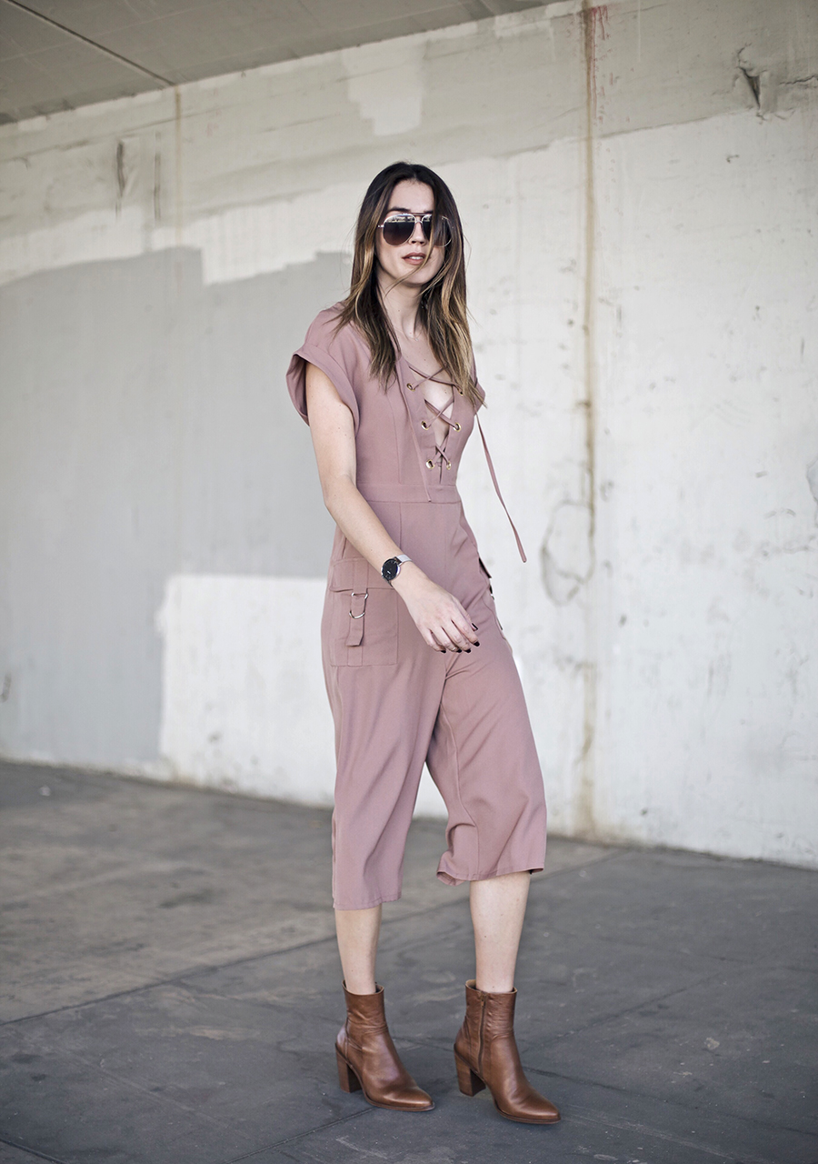 Blush Jumpsuit Tan Ankle Booties