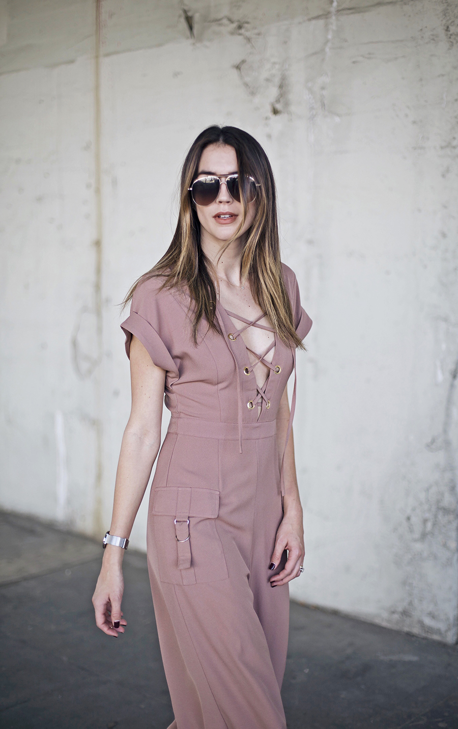 Missguided Blush Laceup Jumpsuit