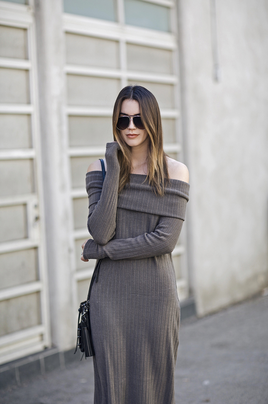 Off the Shoulder Ribbed Knit Dress