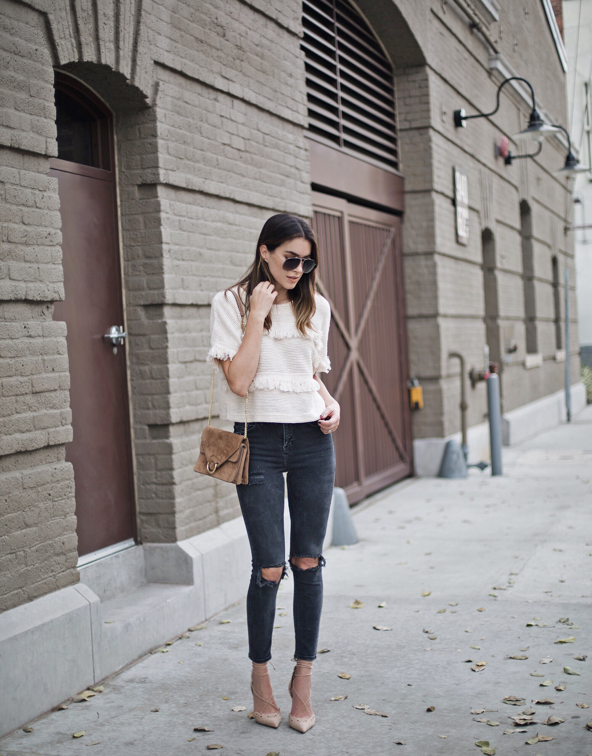 Ripped Grey Jeans Nude Pointed Heels