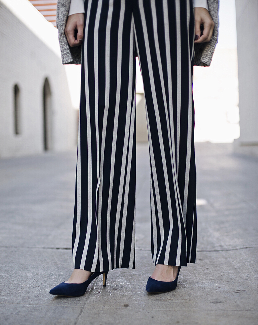 Striped Trousers Blue Kitten Heels