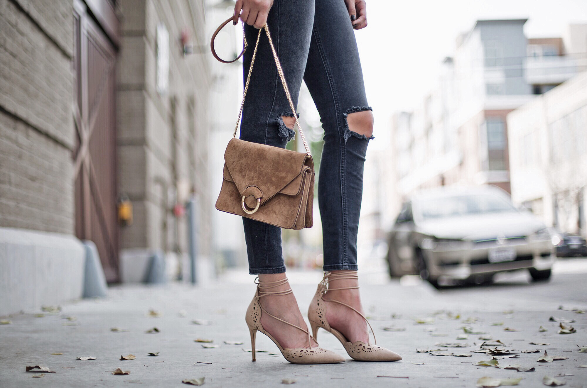 Tan Suede Crossbody Bag Lace Up Nude Heels Blogger Style