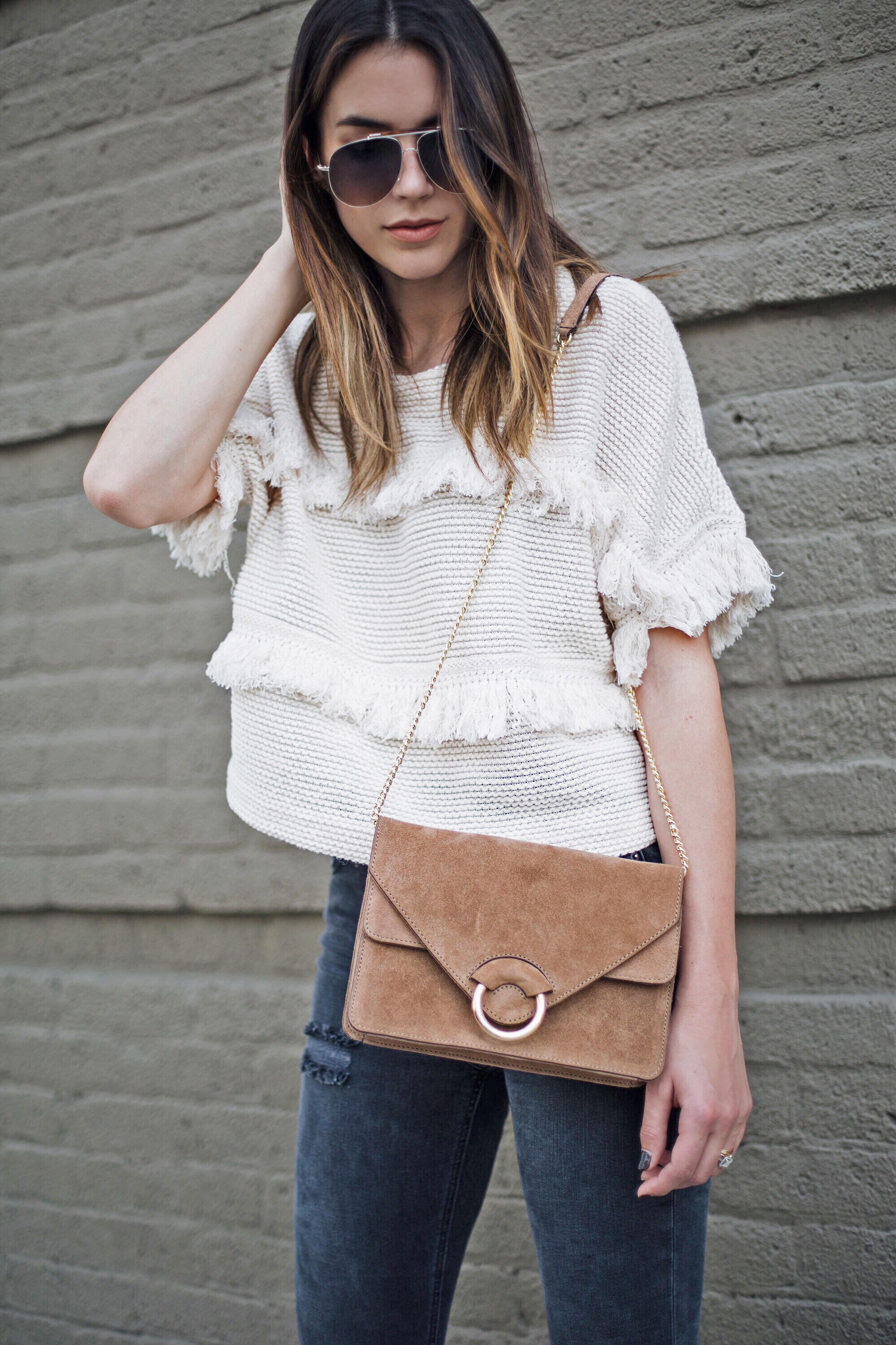 Tan Suede Crossbody Chain bag