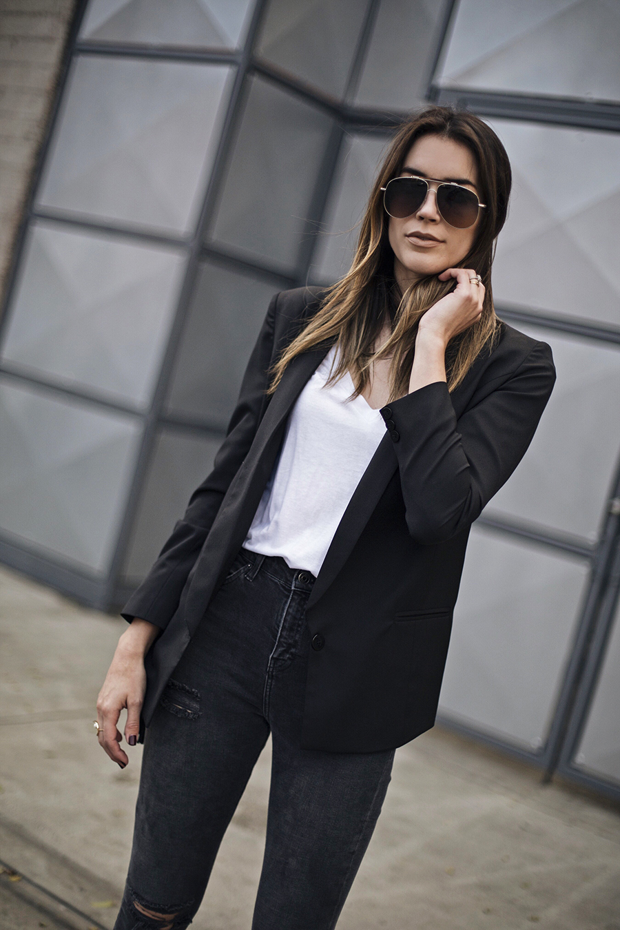 White Tee Shirt Black Blazer