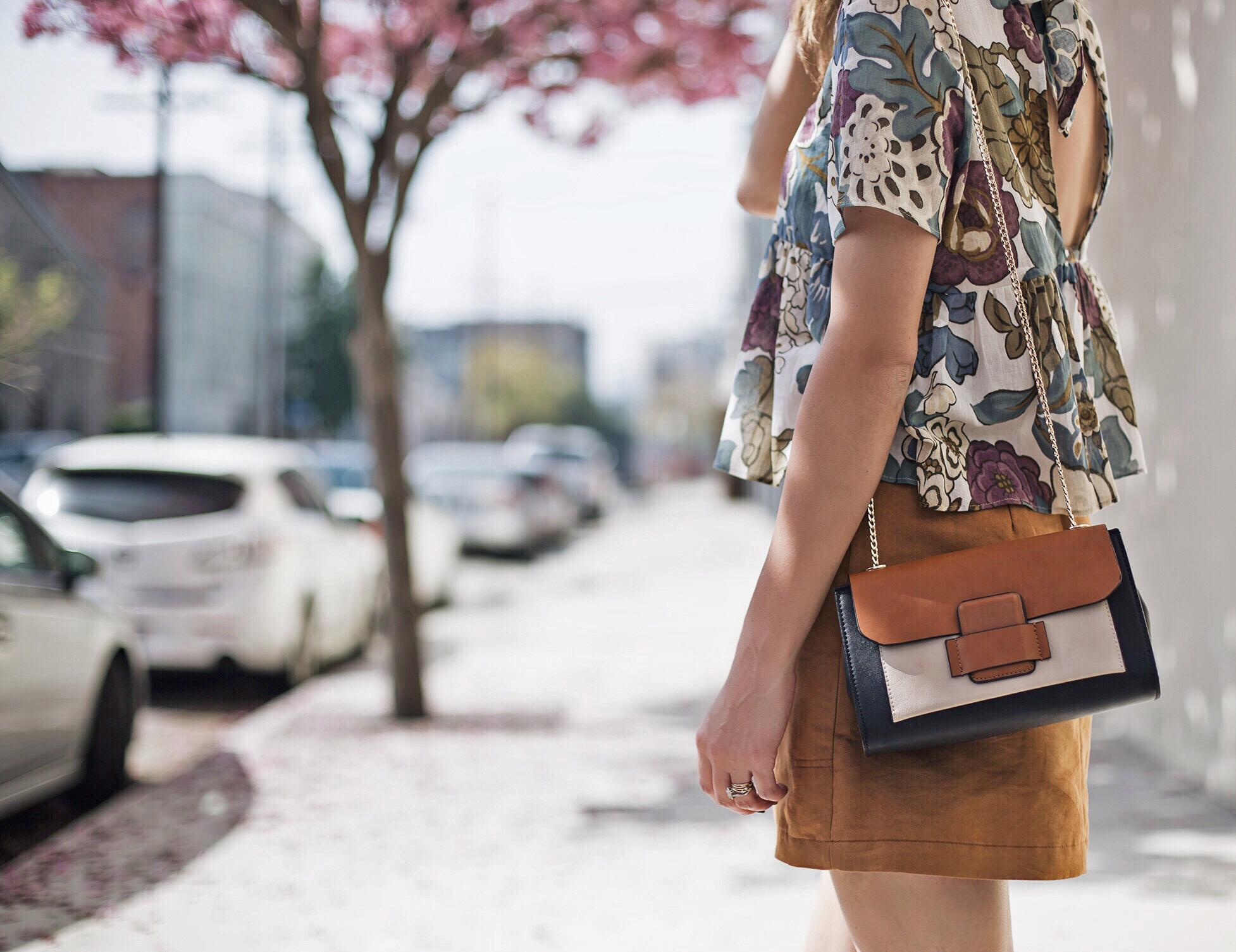 Floral Blouse Color Block Bag Blogger Style