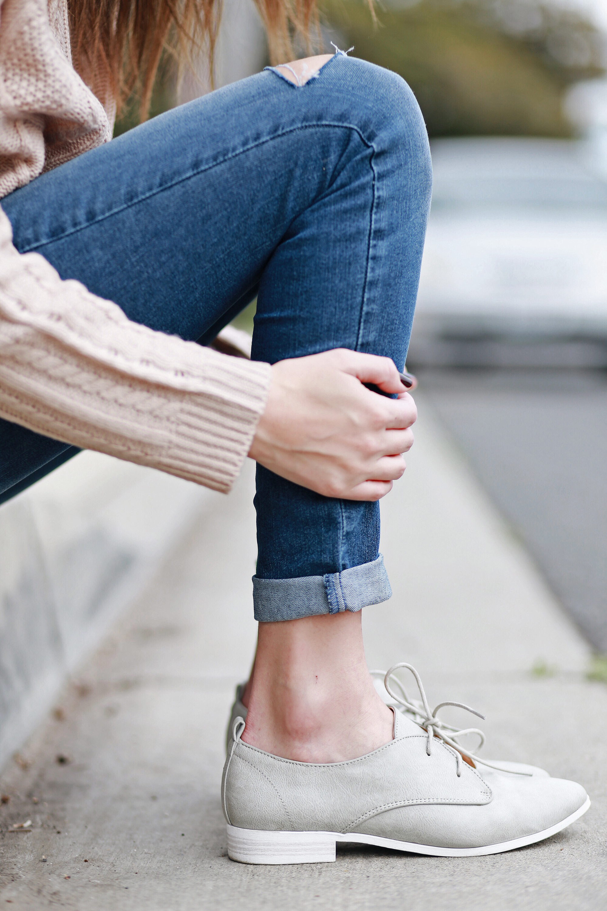 Grey Lace Up Oxford Flats