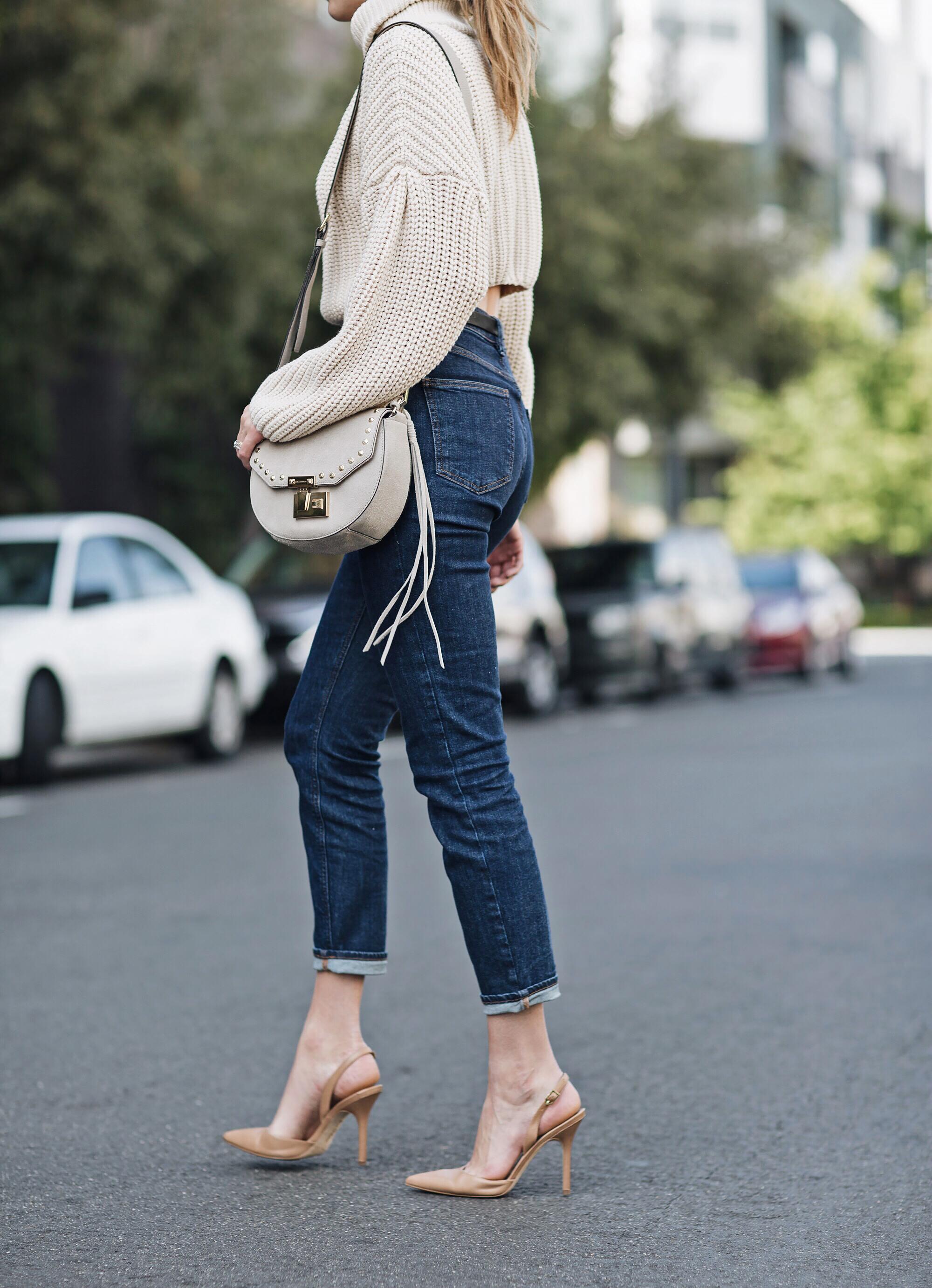 High Waisted Mom Jeans Sling Back Heels