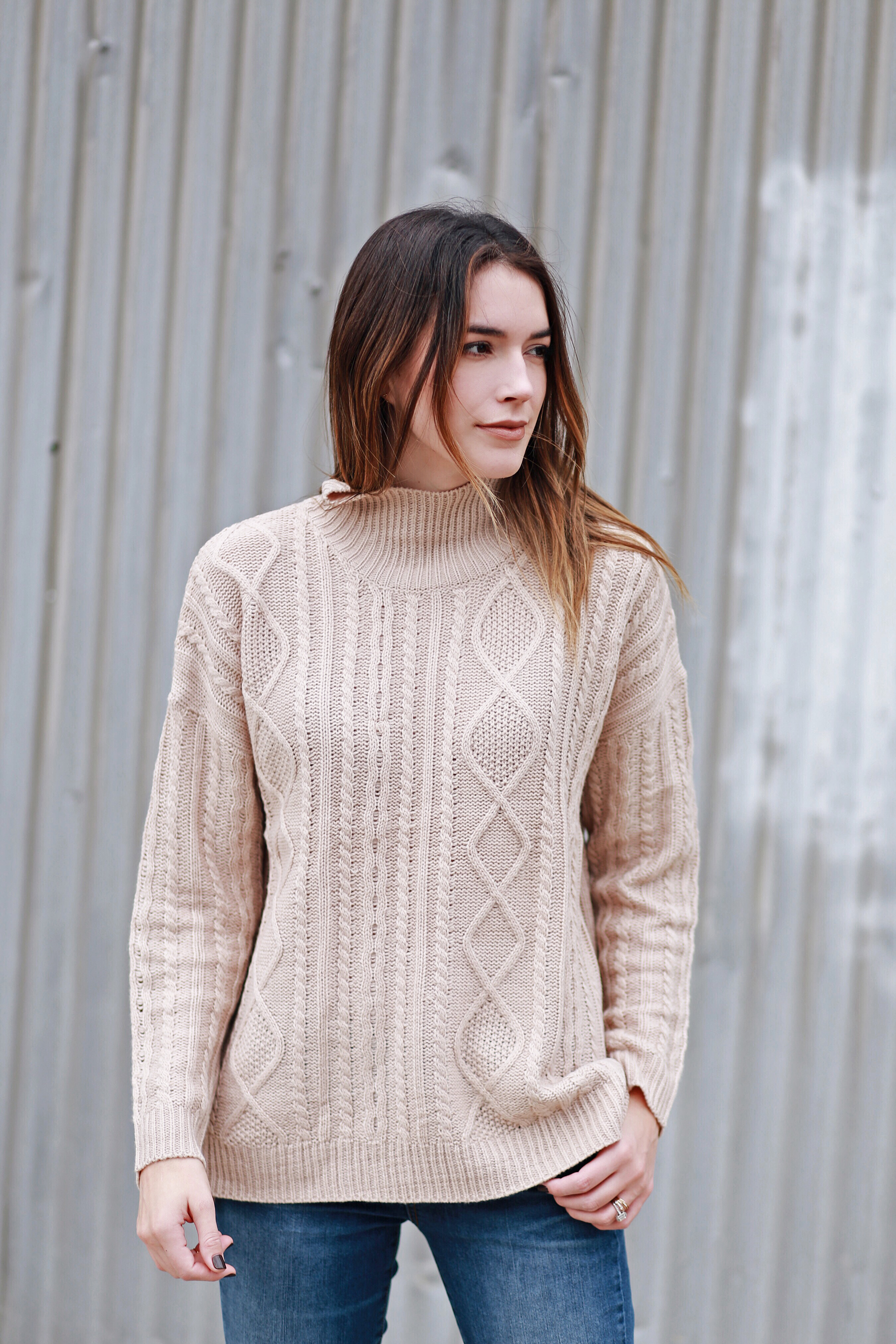 Mock Neck Cable Knit Sweater Tan