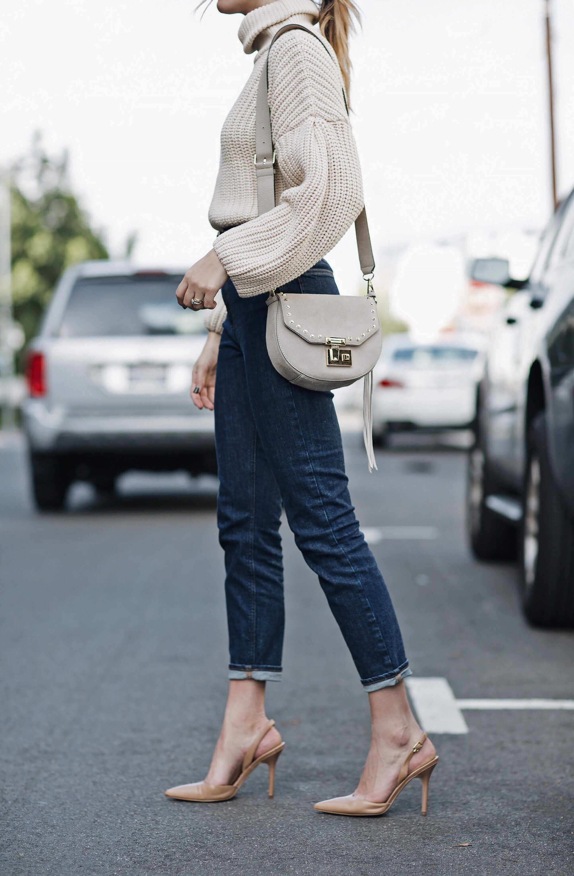 Nude Slingback Pumps Cream Saddle Bag