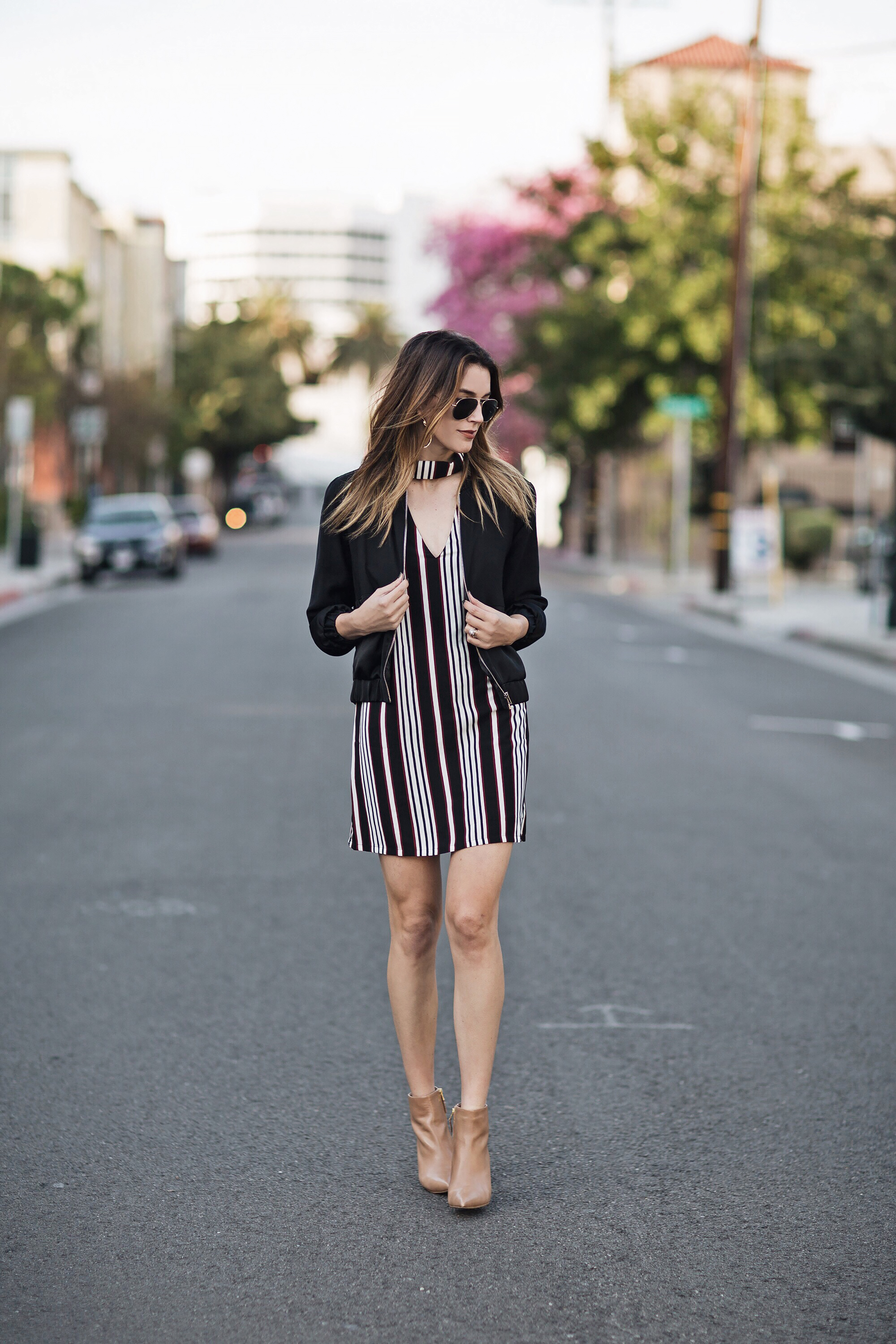 Striped Cutout Collar