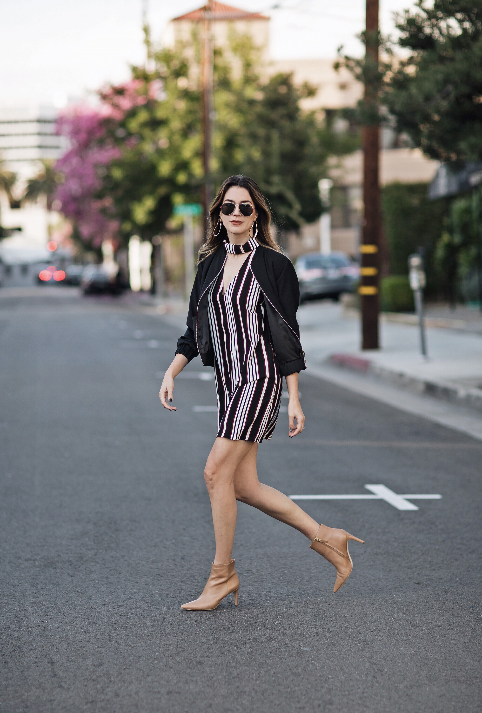 Striped Dress Bomber Jacket Nude Booties