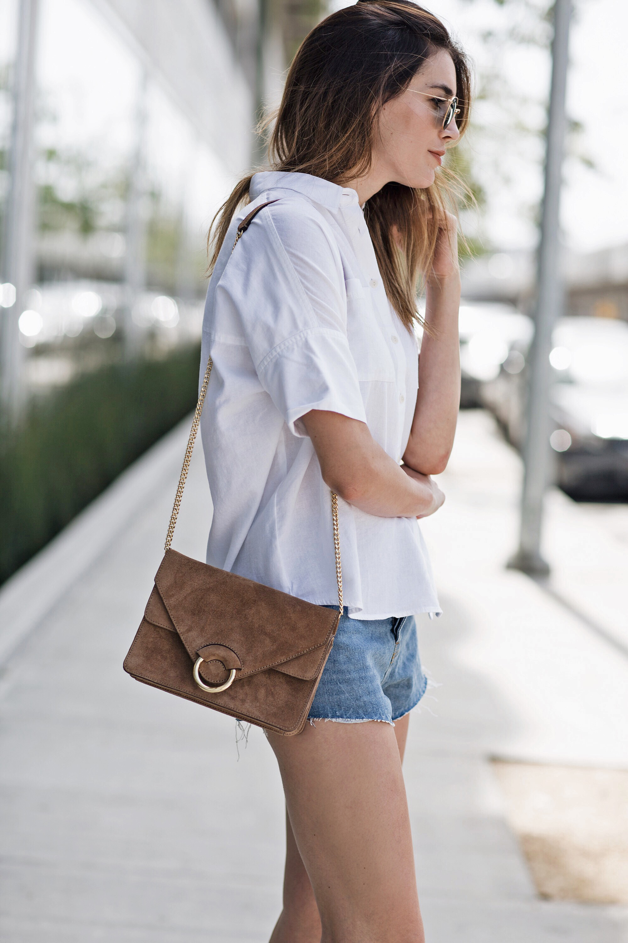 Suede Tan Buckle Bag