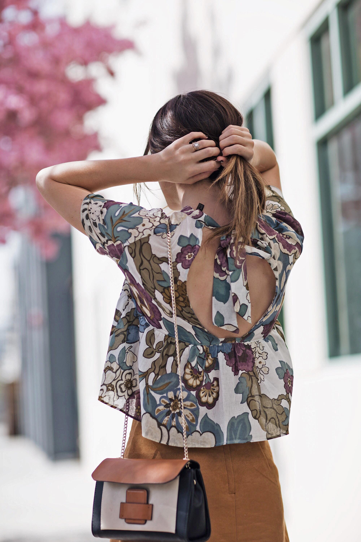 Tie Back Neck Blouse Ruffles Florals