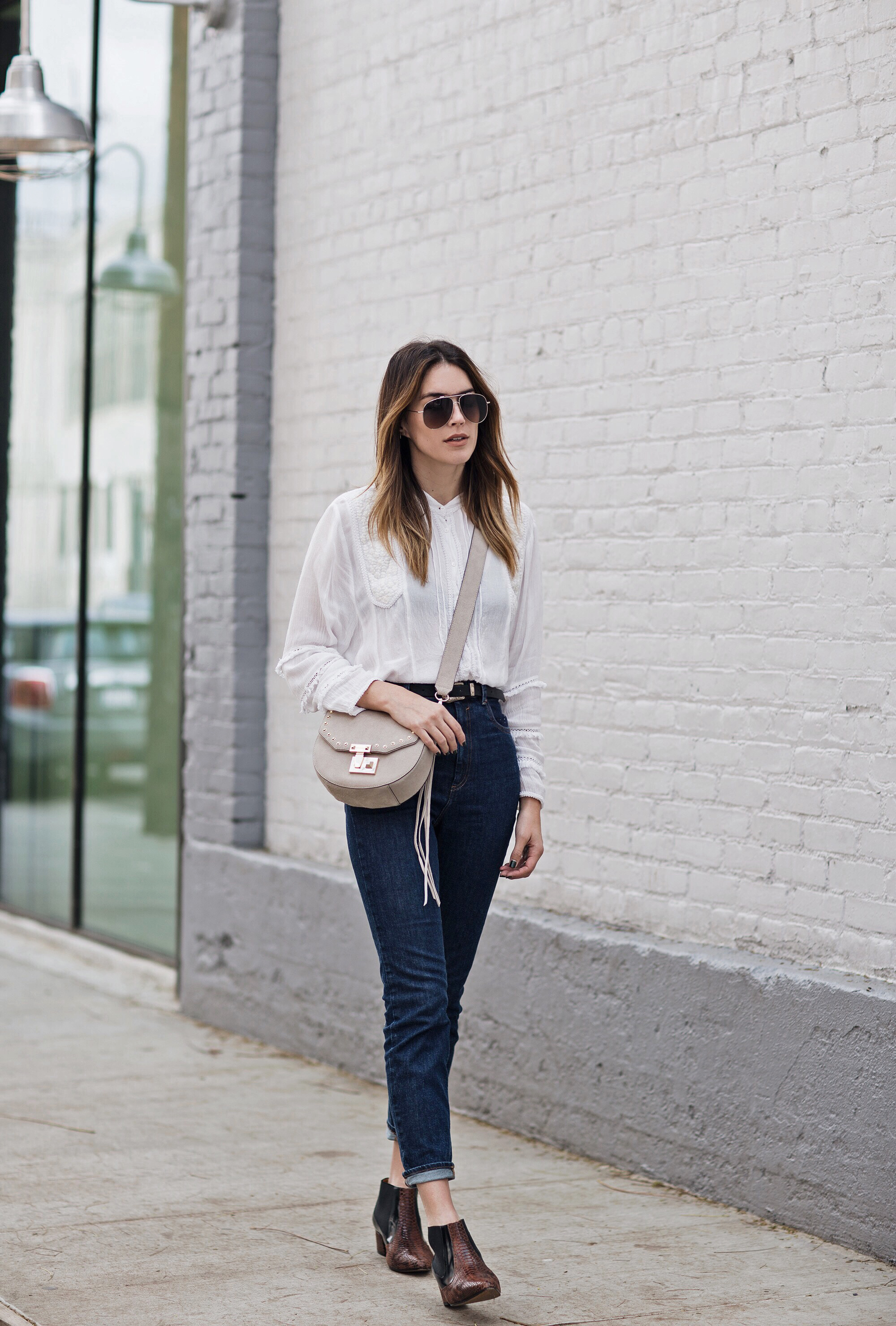 White Blouse Dark Denim Blogger Style