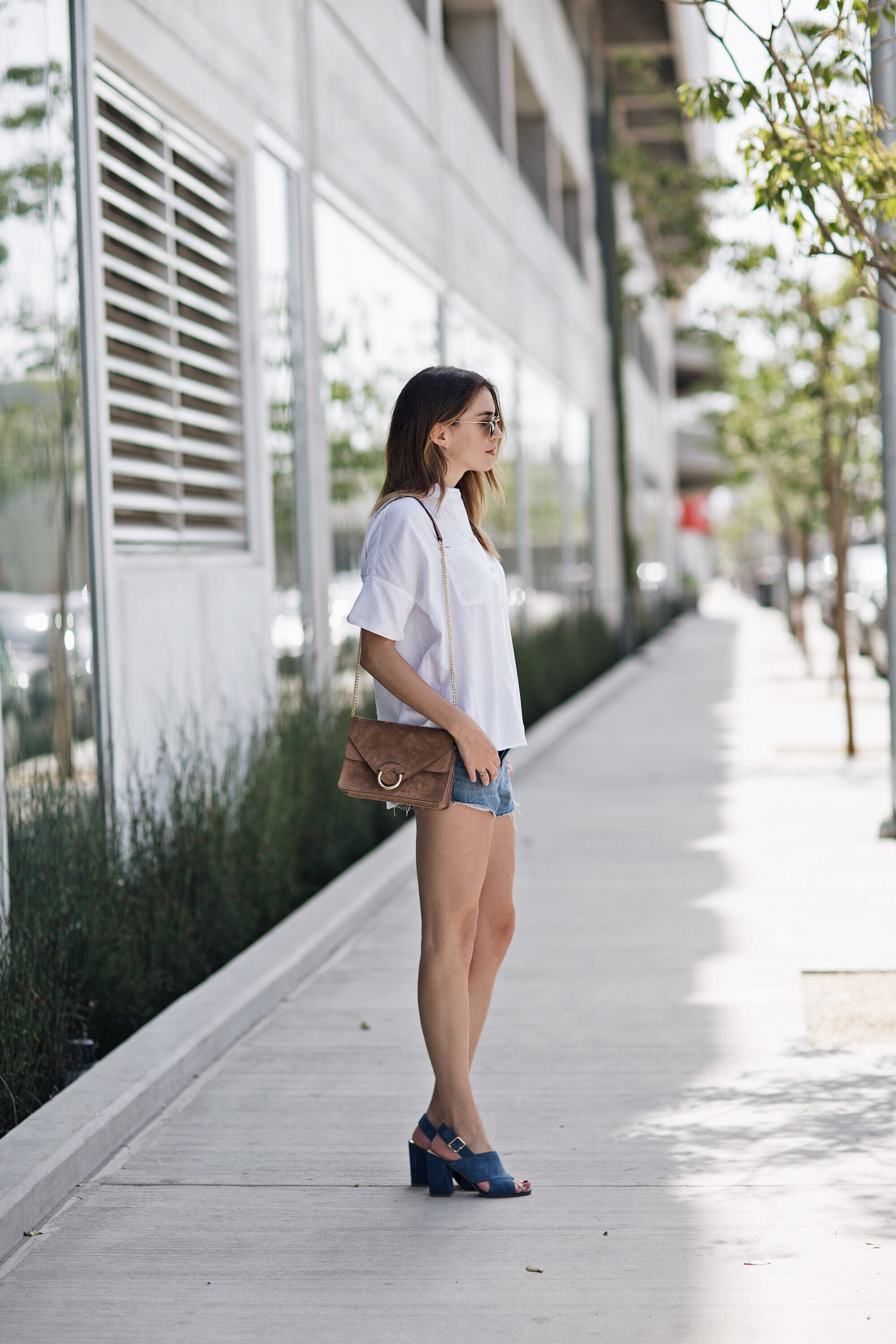 White Shirt Denim Cutoffs Blue Suede Heels Blogger