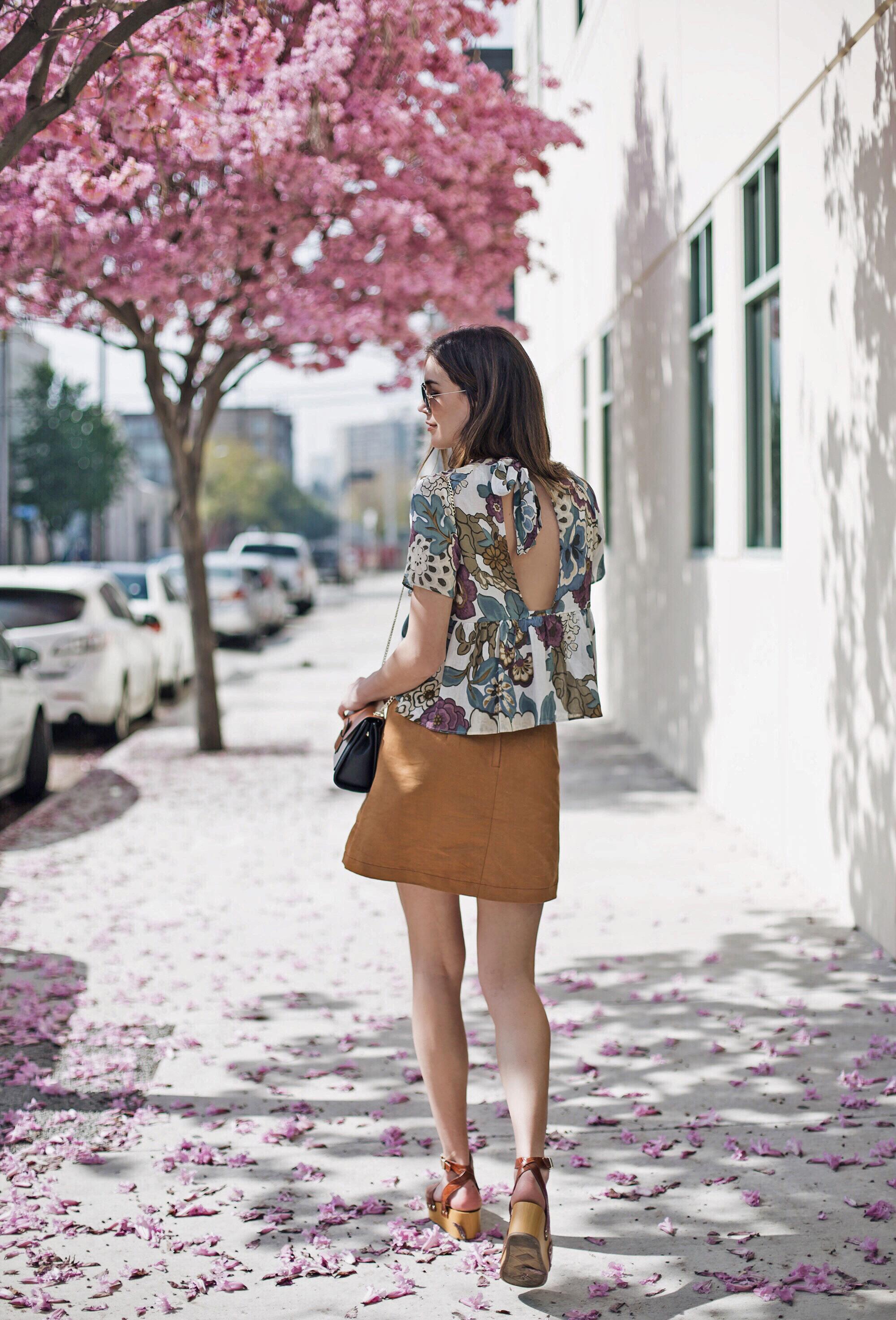 Zara Floral Ruffled Blouse Button Up Skirt 2